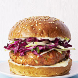 Salmon Burgers with Cabbage-Apple Slaw
